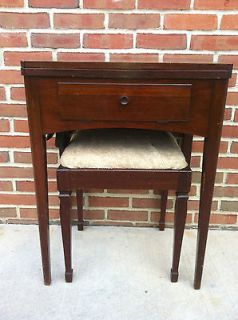 Antique Vintage 1948 Singer Sewing Machine Wooden Cabinet and Bench