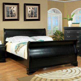 Solid Wood Laurelle Black Finish Bed Frame