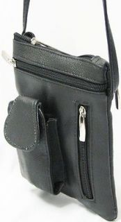 Black Genuine Leather Cross Body Purse Shoulder Bag Cell Phone Holder