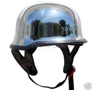 DOT German Motorcycle Street Half Helmet Chopper Cruiser Biker Silver