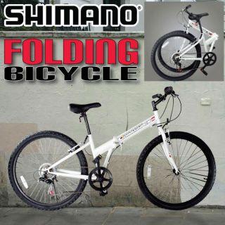 26 Inch Folding Bicycle Foldable Mountain Bike 6 Speed Shimano White