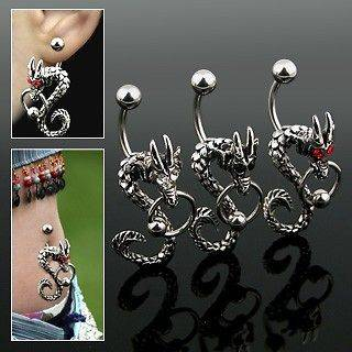 Dragon Belly Ring with Black, Clear or Red Eyes Holding CBR in Mouth
