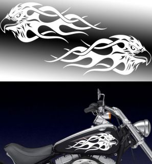 Motorcycle flaming Eagle Gas tank badge decals Harley