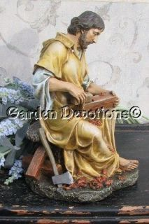 ST. JOSEPH THE CARPENTER Statue Sitting on Work Bench