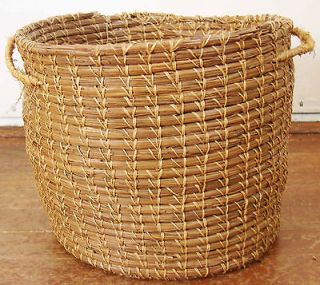 WOVEN Pine Needle BASKET Native American Indian OLD California Mission