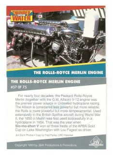 1993 Rolls Royce Merlin Engine Unlimited Hydroplane Trading Card #57