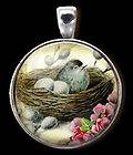 Bluebird Blue Bird Nest Robin Eggs Altered Art Necklace Charm/Pendant