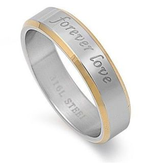 Stainless Steel Forever Love 2 Tone Gold Plated Band Promise Ring 316L