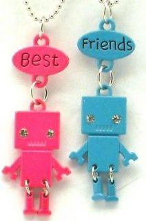 New Best Friend Robot Charm 2 Pendant 2 Necklace Blue Pink Friendship