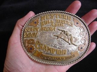 Vintage Western Bull Riders Rodeo Trophy Buckle Red Bluff Buckles