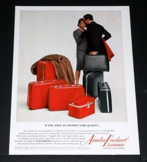 1964 OLD MAGAZINE PRINT AD, AMELIA EARHART RED LUGGAGE & MINK!