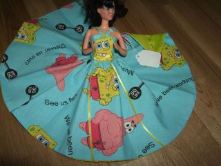 Handmade LINED Barbie Teen Doll SPONGEBOB Bar Bells Fabric Dress Gown