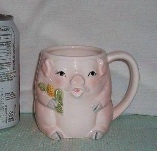 MARY ANN BAKER Pink PIG holding CORN Ceramic CORN