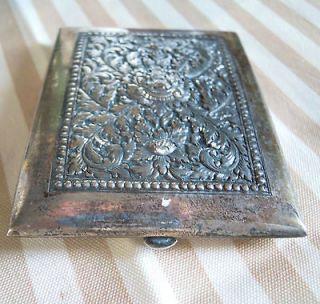 Sterling silver antique CIGARETTE CASE embossed DECOR SIGNED