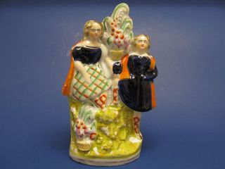 Antique STAFFORDSHIRE Pottery Porcelain Figurine Man & Woman w