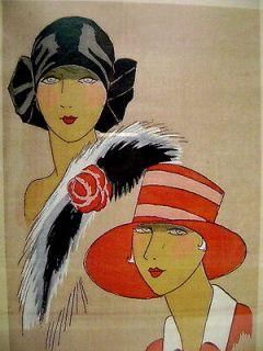 Large Art Deco 1930s print two ladies fashion models.