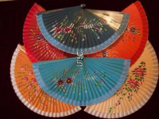 Civil War Victorian ladies hand painted wooden fan   ships FREE in USA