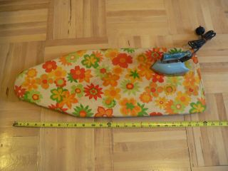 ANTIQUE RETRO TABLETOP IRONING BOARD PAD & TRAVELING CLOTHES IRON