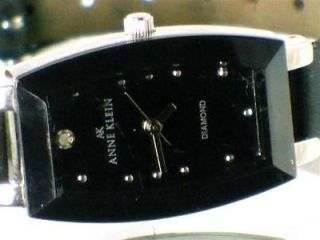 Anne Klein Womens Black Diamond Bevel Cut Quartz Watch Leather Band