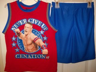 WWE John Cena Never Give Up 2 Piece Shorts & Shirt Set Boys Size 4 / 5