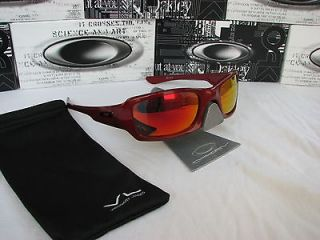 OAKLEY FIVES SQUARED METALLIC RED FRAME W/ FIRE RED POLARIZED CUSTOM