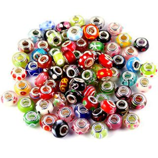 Mixed Silver Plated Lampwork Glass Beads Fit European Charm Bracelet
