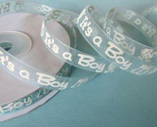 /Roll Blue Organza Ribbon/baby Shower/favors Its a Boy R9 3/8,7/8