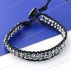 Silver Tone Crystal Glass Beads Black Leather Wrap Rope Bracelet Gift