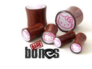 Gauges 5/8 Blood Wood Organic Body Jewelry Hello Kitty Plugs Gauges