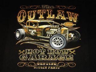 THE OUTLAW HOT ROD GARAGE T Shirt Biker Stolen Parts Retro Cars Cool