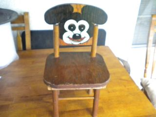 ANTIQUE MICKEY MOUSE WOODEN CHILDS CHAIR HAND PAINTED