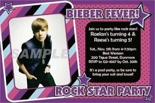 Justin Bieber Birthday Party Invitations  Print Unlimited Quantity