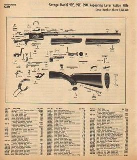 1964 SAVAGE AD MODEL 99 LEVER ACTION PARTS LIST