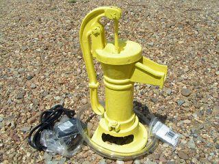 Cast Iron Water Well Hand Pump as COMPLETE FOUNTAIN Garden set YELLOW