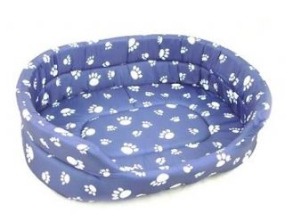 LARGE PET CAT DOG BLUE WHITE BED PILLOW PAW PRINTS WASHABLE