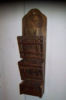 WOOD Wooden Hand Carved Wall MAIL Letter HOLDER Rack ORGANIZER