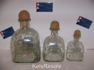 Empty SILVER PATRON Tequila BOTTLE 375 ml 7505ml 1.75l Small