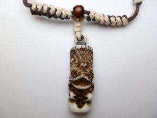 Powder White Brown Tiki Pendant Adjustable Cord Necklace # 30192 25
