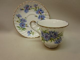 Royal Adderley/Paragon England Bone China Cup/Saucer Blue Cornflower