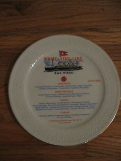 WHITE STAR LINE R.M.S. TITANIC APRIL 14, 1912 FOOD MENU PLATE~