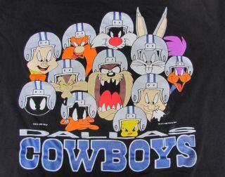 90s DALLAS COWBOYS Looney Tunes T Shirt SIZE XL Football NFL Bugs TAZ