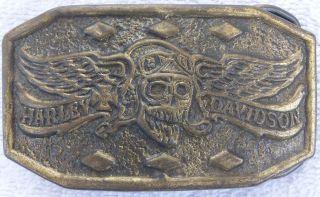1970s MBCI Harley Davidson Skull & Wings Winged Skull Belt Buckle