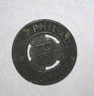 Philadelphia PTC Railway Company Token Good for One Fare NICE