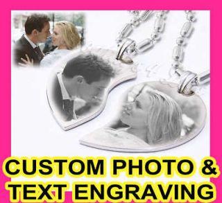 Custom Photo Split Couple Heart Charm Pendant Necklaces ★ Great