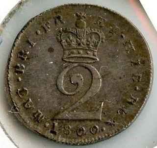 Great Britain 1800 Silver 2 Pence Coin   King George III   z461