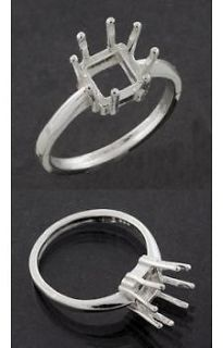) Square Shape Solid Sterling Silver Ring Setting (Ring Sizes 4  11