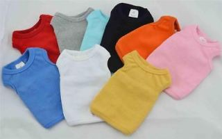 Small Pet Clothing Dog Tank Top Shirt Blank Ribbed Cotton Dog T shirts