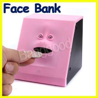 Face Bank Saving Sensor Coin Money Eating Box Facebank Blue Cute Piggy