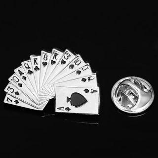 OF GAME POKER CARDS SILVER LAPEL PIN BADGE HAT PIN TIE TACK PIN BROOCH