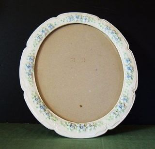 Oval Large Ceramic PICTURE FRAME10.5x12.5 Raised Flower Design Glass